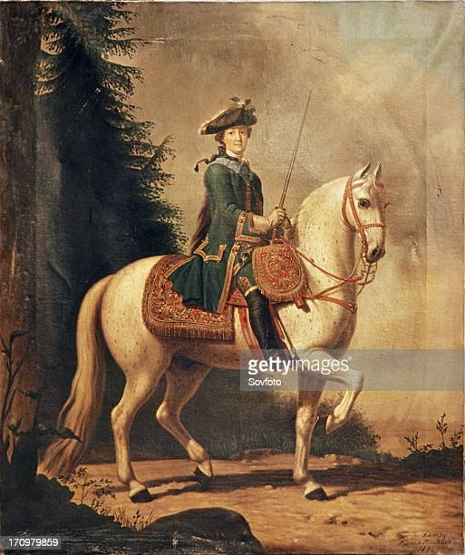 An 1875 copy of a painting of catherine the great on horseback by v eriksen 1762