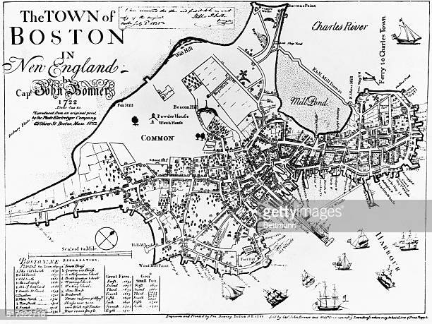 An 1882 copy of a 1722 map shows the original outlines of Boston Massachusetts as it had developed before the filling in of the Back Bay and the...