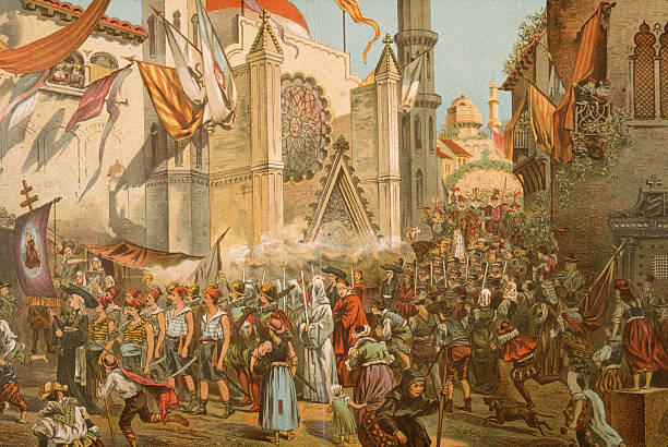 An 1891 print shows a parade in honor of Portuguese...