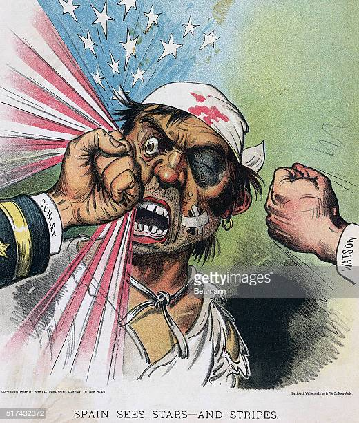 An 1898 color illustration of a Spanish sailer getting beaten up by American fists The sailor's black eye is stamped Dewey while fists labeled schley...