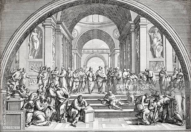 An 18th century engraving of Raphael's School of Athens The painting depicts famous artists philosophers mathematicians and scientists some modelled...