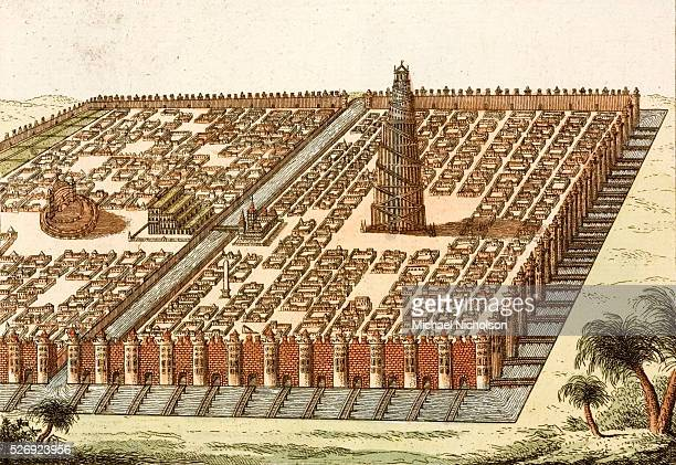 An 18thcentury engraving of the Tower of Babel the Hanging Gardens of Bablyon and the Babylonian Royal Palace The whole complex is surrounded by...