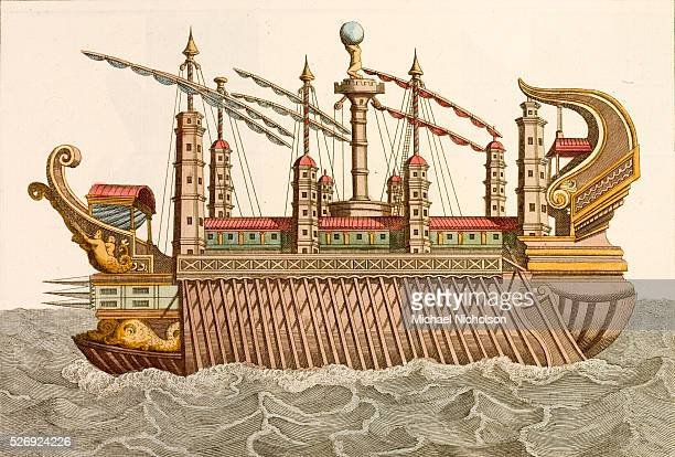 An 18thcentury print of a royal barge as used by L Nemi or Caligula