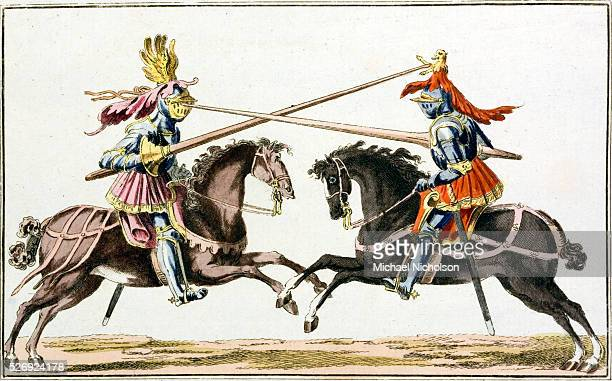 An 18thcentury print of medieval knights on horseback in combat with lances