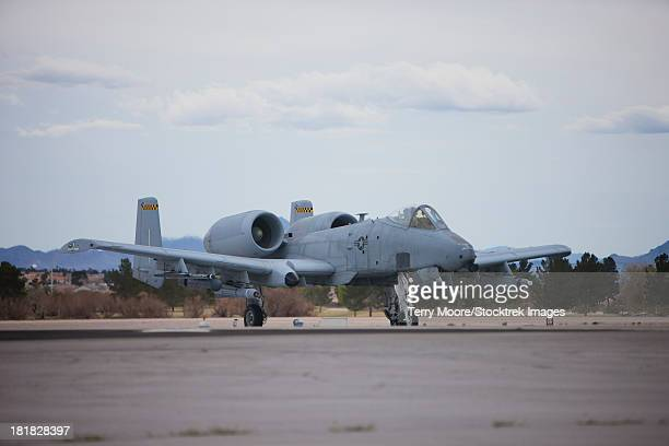 An A-10 Thunderbolt taxis to the runway at Nellis Air Force Base, Nevada, during the 2013 Red Flag Exercise.
