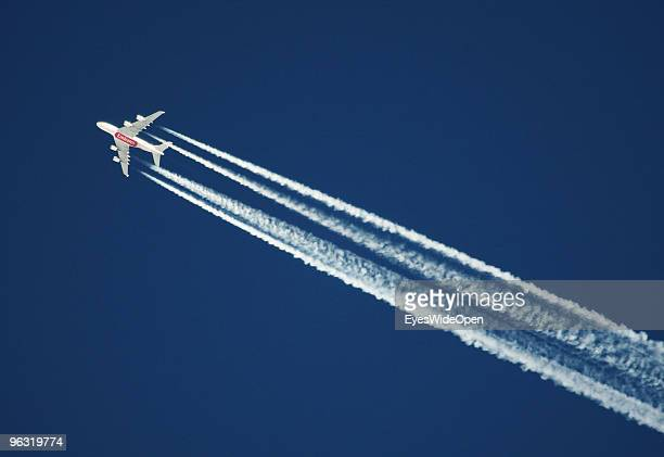 An A380 Airbus of Emirates Airlines on January 23 2009 in Kitzbuehel Austria