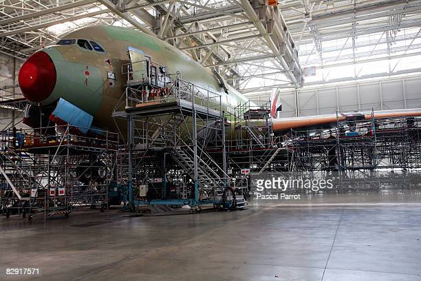 An A380 aircraft is under construction at the EADS JeanLuc Lagardere assembly factory September 19 2008 in Toulouse France Qantas's first airbus...