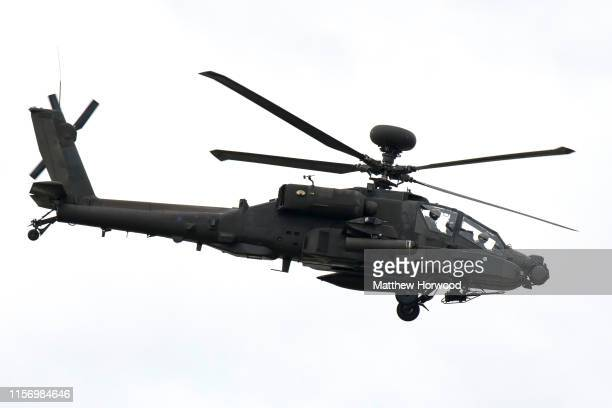 An AAC Apache AH1 performs during the the International Air Tattoo at RAF Fairford on July 21 2019 in Fairford England The Royal International Air...
