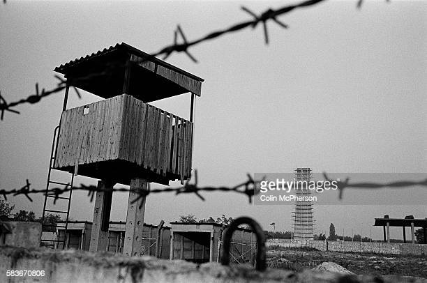 An abandon former East German military barracks near a section of the course of the former Berlin Wall Oranienburg Berlin The Berlin Wall was a...