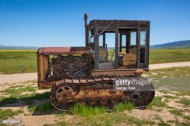 An abandoned and rusting farm tractor is displayed at the Carrizo National Monument Visitor Center on March 28 in Carrizo Plain National Monument...