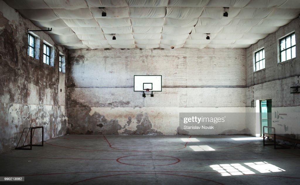 An abandoned basketball court. : Stock Photo