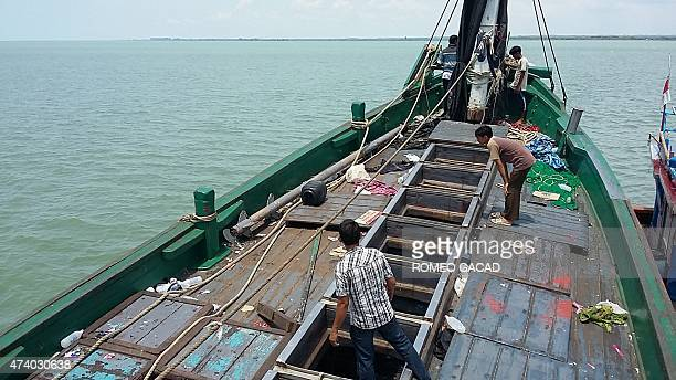 An abandoned boat that carried Rohingya migrants is found off the coast near the city of Geulumpang in Indonesia's East Aceh district of Aceh...
