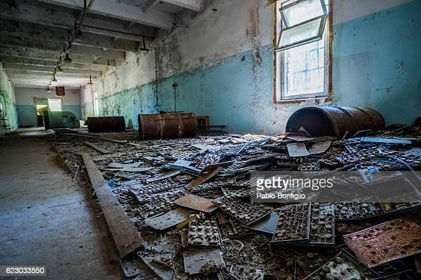 An abandoned building in the deserted city of Pripyat, near the Chernobyl nuclear power plant