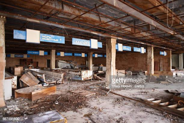 An abandoned building of the market in the Pripyat near the Chernobyl nuclear power plant in the Exclusion Zone Ukraine April 5 2017 The Chernobyl...