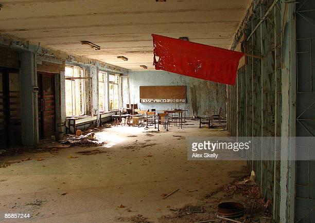 An abandoned classroom at Chernobyl.