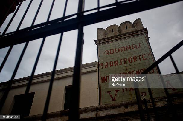 An abandoned customs and internacional transport company building is seen through a fence in Portbou on 3rd september Spain Portbou is the last...