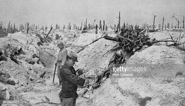 An abandoned German trench around Mesnil Champagne France World War I 1915 A print from the Le Flambeau 18 September 1915