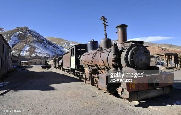 An abandoned locomotive in Pulacayo, a former mining center near the Uyuni salt flat, in the Potosi department, Bolivia on July 20, 2011. The Uyuni...