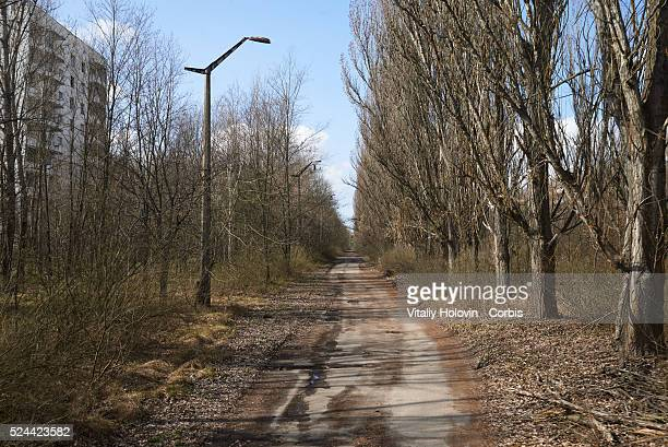 An abandoned main street in the deserted city of Pripyat near the Chernobyl nuclear power plant Ukraine 22 April 2016 The explosion of Unit 4 of the...