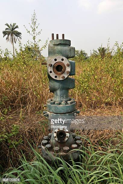 An abandoned oil wellhead known as 'Number 1' and previously operated by Royal Dutch Shell Plc stands in marshland near the Ogoniland village of...