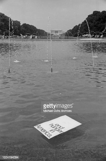 An abandoned placard reading 'End Hunger in America' on the National Mall in Washington, DC, during the Poor People's Campaign or Poor People's March...