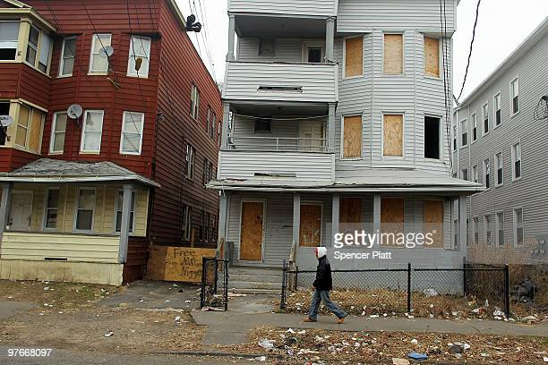 An abandoned property is boarded up on March 12 2010 in Bridgeport Connecticut A new report by RealtyTrac Inc announced that the number of foreclosed...