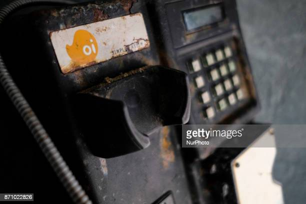 An abandoned public telephone of the Brazilian telephone operator Oi SA is seen on Boa Viagem beach a postcard of the city of Recife in northeastern...