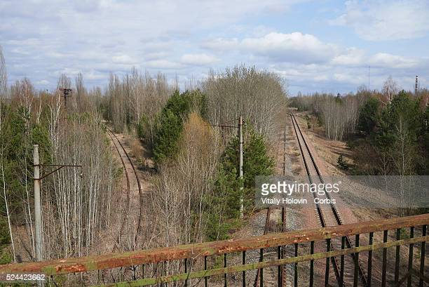 An abandoned railways in the deserted city of Pripyat near the Chernobyl nuclear power plant Ukraine 22 April 2016 The explosion of Unit 4 of the...
