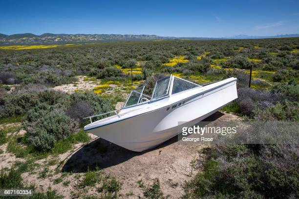 An abandoned recreational boat is left high and dry as viewed on March 28 near Carrizo Plain National Monument California Located on the eastern...