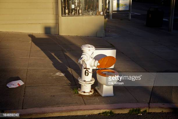 CONTENT] An abandoned toilet rests next to a fire hydrant on a San Francisco street in the late afternoon