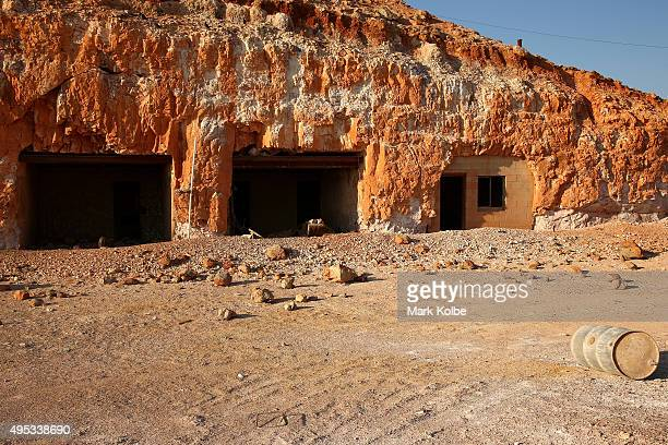 An abandoned underground dwelling is seen cut into the side of a hill on October 22 2015 in Coober Pedy Australia
