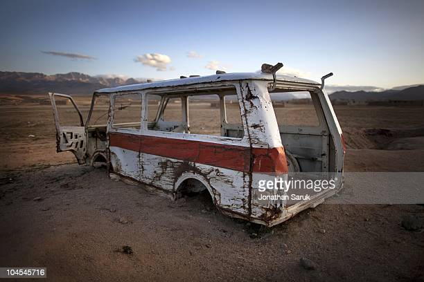An abandoned vehicle at the Jaghatu District Center May 11 2009 in Jaghatu District Wardak Province Afghanistan US soldiers from the 3rd Brigade 10th...