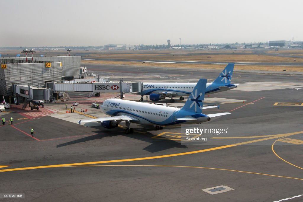 An ABC Aerolineas SA de CV (Interjet) airplane taxis to a gate at Benito Juarez International Airport (MEX) in Mexico City, Mexico, on Friday, Jan. 5, 2018. Interjet made a splash as Mexico's first airline for the budget-conscious flyer when it was founded in 2005. But in the years that followed, the carrier hit turbulent skies, causing the company's overall market share to stagnate while Competitor Volaris captured more passengers. Photographer: Lujan Agusti/Bloomberg via Getty Images