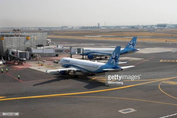 An ABC Aerolineas SA de CV airplane taxis to a gate at Benito Juarez International Airport in Mexico City Mexico on Friday Jan 5 2018 Interjet made a...