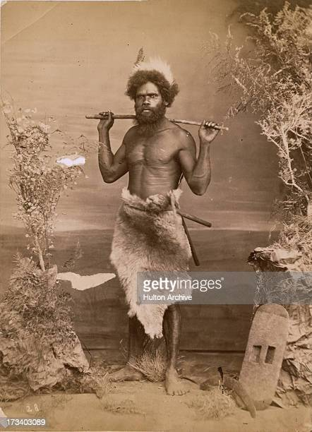An Aboriginal Australian hunter poses wearing fur Australia circa 1880