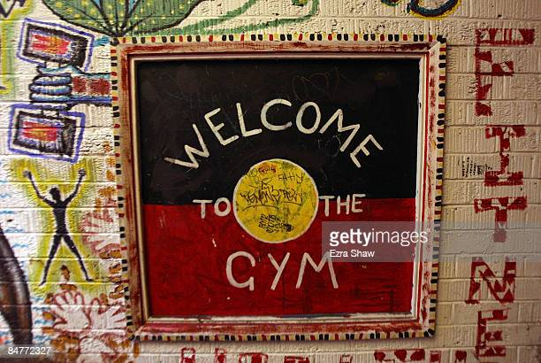 An Aboriginal Flag is used in the welcome sign for theTony Mundine Gym which was used as a warm up gym for the Night Of The Black Stars on February...