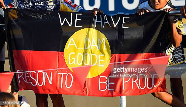 An Aboriginal flag showing support for AFL player Adam Goodes is seen displayed in the crowd before the start the round 21 NRL match between the...