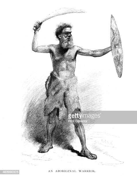 An Aboriginal Warrior 1886 Wood engraving from 'Picturesque Atlas of Australasia Vol II' by Andrew Garran illustrated under the supervision of...