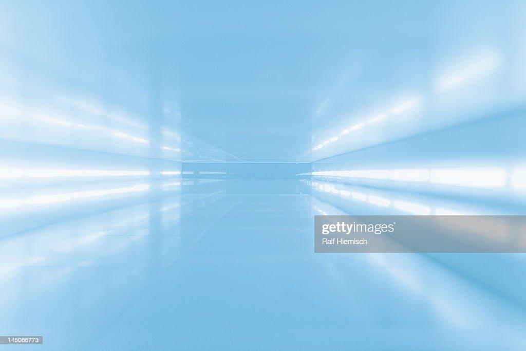An abstract corridor in blue tones : Stock Photo