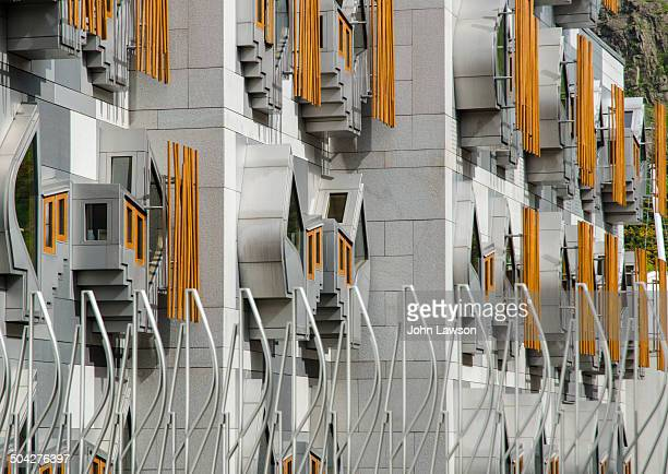 An abstract of the Scottish Parliament Building in Edinburgh, Scotland. The building is at the bottom of Edinburgh's Royal Mile and adjacent to...