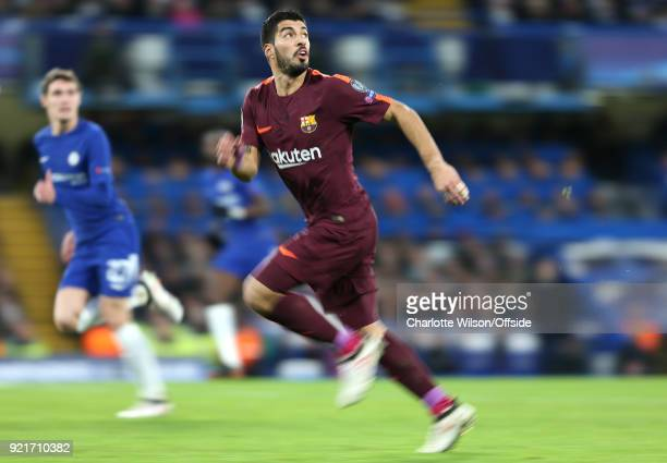 An abstract view of Luis Suarez of FC Barcelona during the UEFA Champions League Round of 16 First Leg match between Chelsea FC and FC Barcelona at...