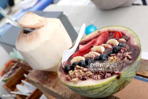 An acai bowl on display at the Studio Tone It Up Live at Duggal Greenhouse on June 23 2018 in Brooklyn New York