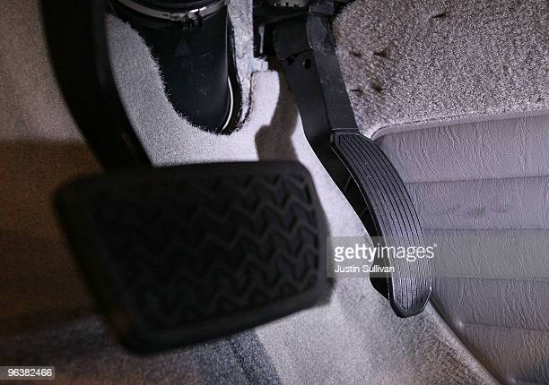 An accelerator pedal that is subject to recall is seen in a brand new Toyota Camry at City Toyota February 3 2010 in Daly City California Toyota is...