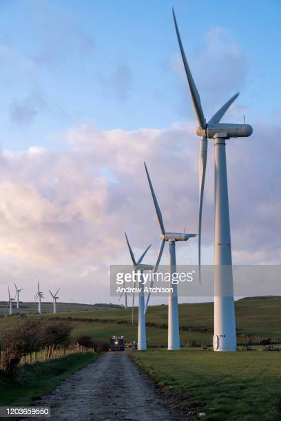 An access road to wind turbines on Llyn Alaw Wind Farm in full electricity production during the tail end of Storm Dennis on 17th February 2020 in...