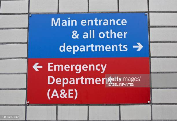 An Accident and Emergency department sign is pictured at St Thomas' Hospital on January 13 2017 in London The Red Cross describes a 'humanitarian...