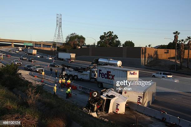 An accident involving a FedEx truck caused a traffic snarl in the San Fernando Valley Friday morning on March 13 on the southbound 5 Freeway near...
