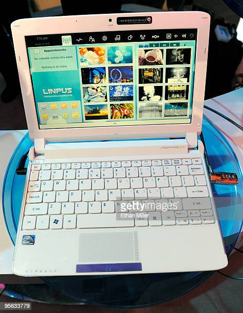 An Acer Aspire One netbook running the new Intel N410 Atom processor is displayed at the 2010 International Consumer Electronics Show at the Las...
