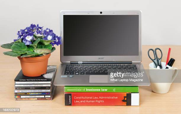 An Acer Aspire S3 Ultrabook laptop photographed on a home desktop for a feature on the best laptops for studying at school or university taken on...