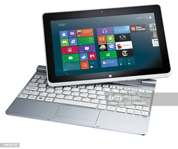 An Acer Iconia W510 tablet PC and keyboard photographed on a white background taken on January 16 2013