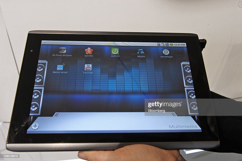 An Acer Inc. Iconia Tab tablet device is arranged for a photograph at the Mobile World Congress in Barcelona, Spain, on Thursday, Feb. 17, 2011. The Mobile World Congress takes place at Fira de Barcelona conference center Feb. 14-17. Photographer: Denis Doyle/Bloomberg via Getty Images